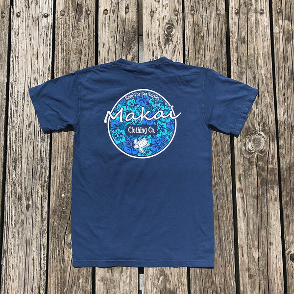 Deep Sea Blue Luau Print