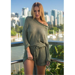 KNITTING LONG-SLEEVED CASUAL WOMEN'S JUMPSUIT