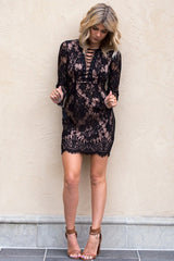 HOT CUTE LACE LONG SLEEVE DRESS