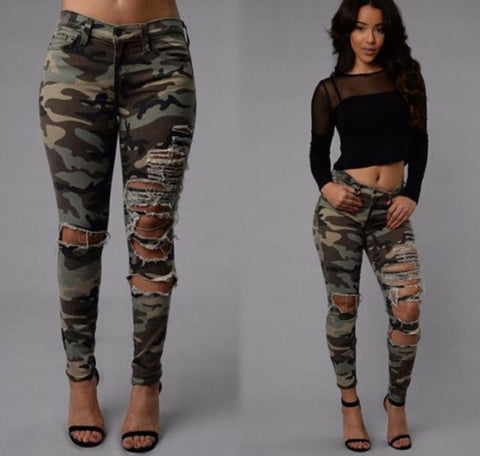 CUTE FASHION HOLE PANTS