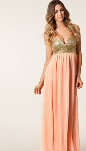 CUTE SPELL CHIFFON STRAPLESS DRESS WITH SEQUINS