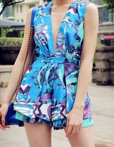ON SALE FASHION CUTE COLORFUL V ROMPER PLAYSUIT