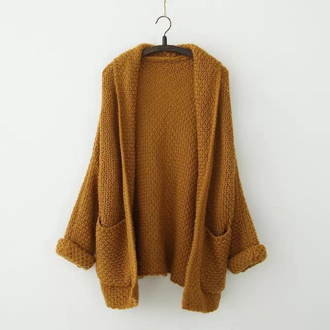Loose volume bat sleeve, sleeve, the long knit sweater cardigan increasing female coat