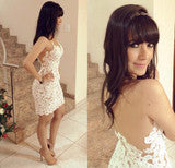 CULTIVATE ONE'S MORALITY SHORT SKIRT WHITE CROCHET NET YARN SPLICING HOLLOW OUT DRESS