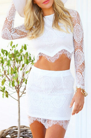 CUTE HOT LACE TWO PIECES DRESS