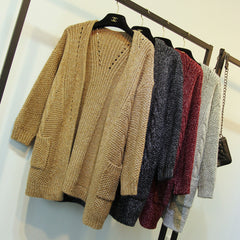 CUTE SWEATER PURE COLOR CARDIGAN