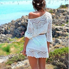 ON SALE BEACH DRESS LACE HOLLOW INCLINED SHOULDER SEXY DRESS
