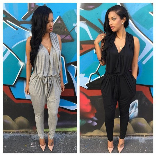 HOT GREY BLACK JUMPSUIT