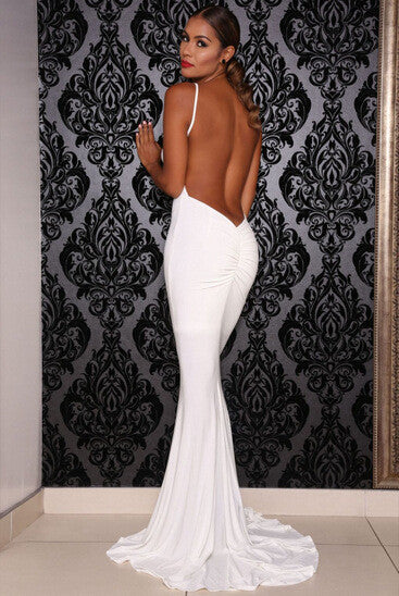 CUTE LONG SEXY BACKLESS TWIST DRESS
