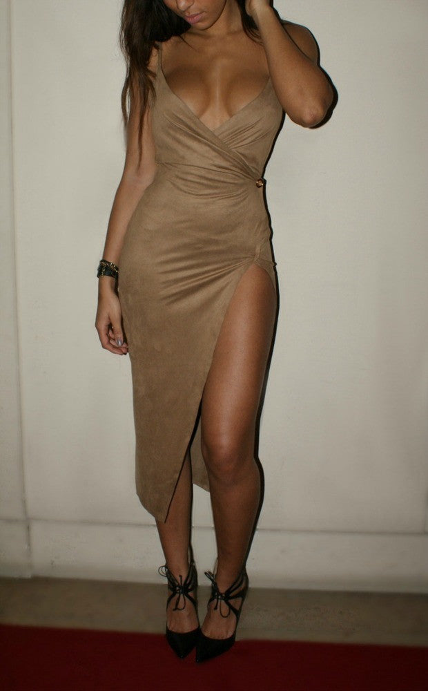 HOT CUTE FASHION V STRAPS FORK KHAKI DRESS