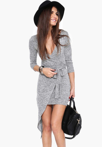 IRREGULAR LONG-SLEEVED PENDULUM SEXY DRESS