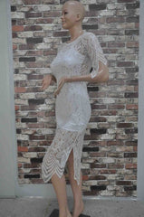 CUTE SHORT SLEEVE LACE DRESS HOT