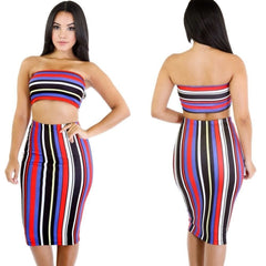 CHROMATIC STRIPE TWO-PIECE PRINTED SKIRT