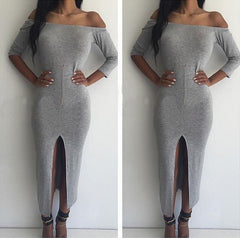 CUTE OFF SHOULDER FORK DRESS