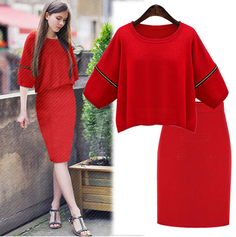 Elastic zipper design round neck sweaters SUIT DRESS