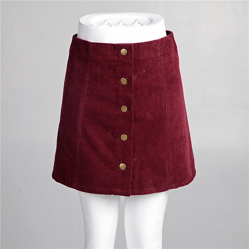 df841d87db ... In the fall of the new front buckle A word skirt cultivate one's  morality corduroy skirts