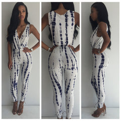 WHITE GEAR PRINTED SLEEVELESS DEEP V JUMPSUITS