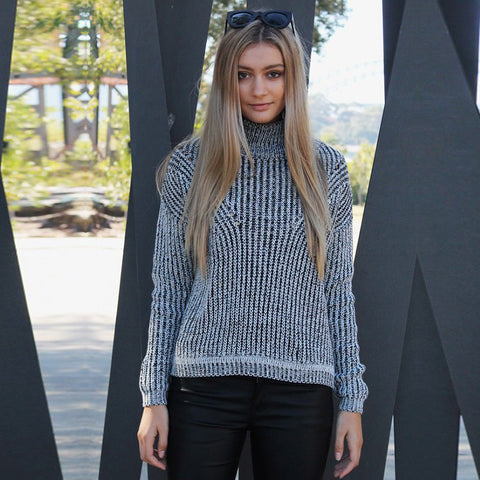 HIGH COLLAR GREY HOLLOW OUT SWEATER