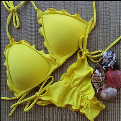 HOT YELLOW TWO PIECE PLEATED BIKINIS PURE COLOR