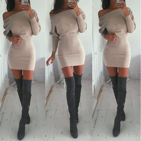 HOT CUTE OFF SHOULDER PURE COLOR BAT SLEEVE DRESS HIGH QUALITY NOT THE POOR