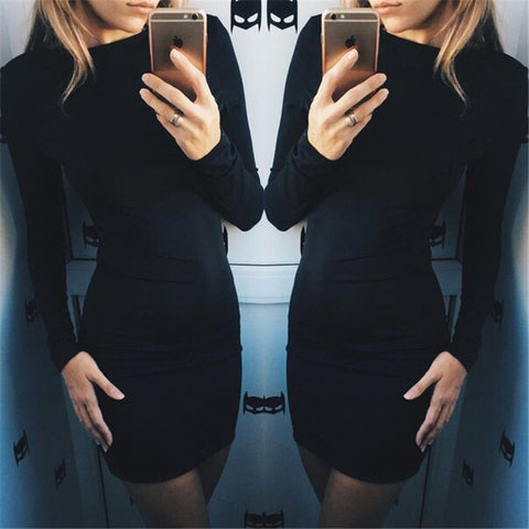 FASHION CUTE LONGS SLEEVE SHOW BODY DRESS
