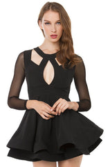FASHION BLACK HOLLOW OUT SEXY DESIGN DRESS HIGH QUALITY