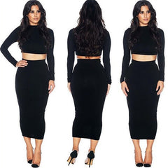 HIGH LONG SLEEVE SHORT JACKET POCKETS HIP SKIRTS BLACK SUIT