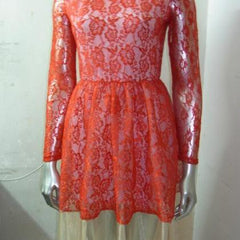 ON SALE LONG SLEEVE LACE DRESS DRESS HOT RED