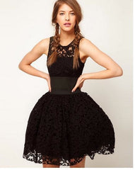 FASHION BLACK LACE BITTER FLEABANE BITTER FLEABANE SKIRT SUNDRESS