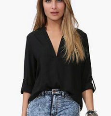 SPRING AND SUMMER LEISURE LONG-SLEEVED SHIRT TEMPERAMENT CHIFFON V-NECK SHIRT