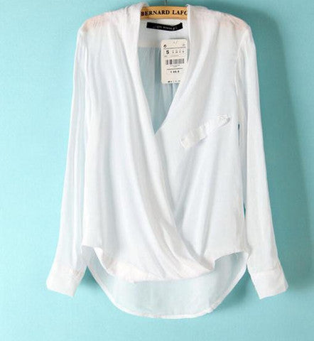 DEEP V IRREGULAR CUTE CHIFFON SHIRT