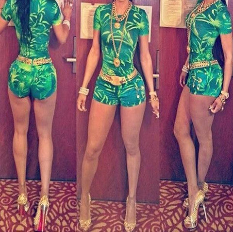 CUTE GREEN LEAVE JUMPSUIT ROMPER