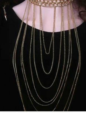 SEXY TASSEL EXAGGERATED BODY CHAIN NECKLACE SWEATER CHAIN