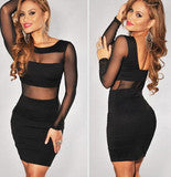 FASHION CUTE SHOW BODY BLACK DRESS