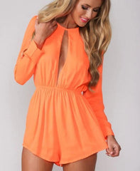 ON SALE CUTE LONG-SLEEVED ROUND COLLAR CHEST FASHION SEXY LEAKAGE JUMPSUITS NEW DRESS