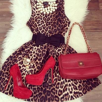 FASHION LEOPARD VEST DRESS WITH BELT