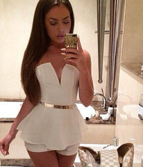 ON SALE CUTE V SHORT JUMPSUIT ROMPER NO BELT