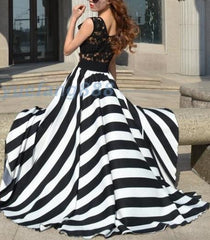 CUTE LACE STRIPE LONG DRESS