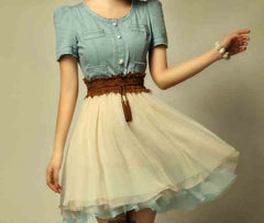 CUTE CHIFFON COWBOY HOT DRESS