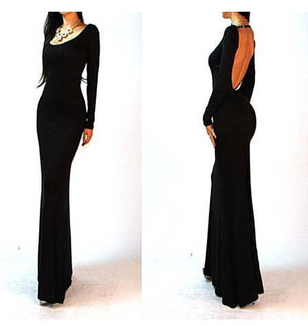 ELEGANT LONG SLEEVE LONG BACKLESS CULTIVATE ONE'S MORALITY DRESS DRESS