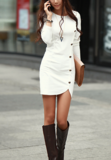 HOT FASHION ROUND COLLAR SINGLE-BREASTED SPLIT LONG SLEEVE PACKAGE BUTTOCKS DRESS