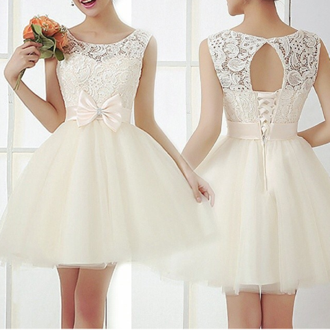 ON SALE FASHION LACE BOW HOT DRESS