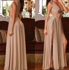 Sexy fork long dress with sexy design waist