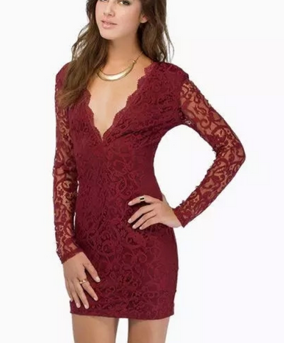 Big v-neck lace cultivate one's morality dress with long sleeves