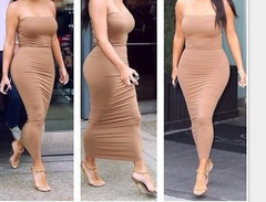 ON SALE CUTE PURE COLOR STRAPLESS DRESS BROWN