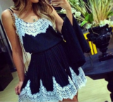 CUTE BLUE LACE FASHION DRESS