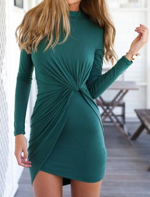 HOT TWIST GREEN LONG SLEEVE DRESS
