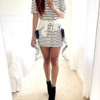 CUTE GRAIN HOT STRIPE DRESS