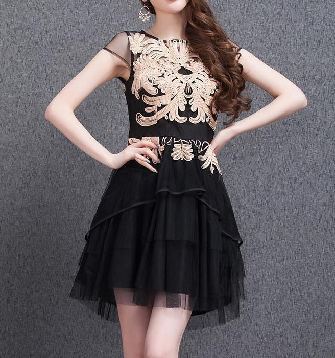 ORGANZA BUD SILK EMBROIDERY SKIRT WITH SHORT SLEEVES