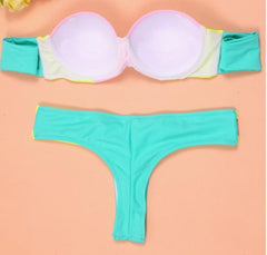 CUTE YELLOW GREEN TWO PIECE FRESH BIKINIS